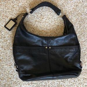 Tignanello Black Pebble Leather Hobo-style handbag